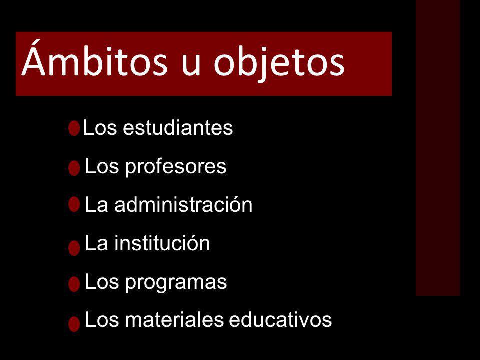 Ámbitos u objetos Los estudiantes Los profesores La administración La institución Los programas Los materiales educativos
