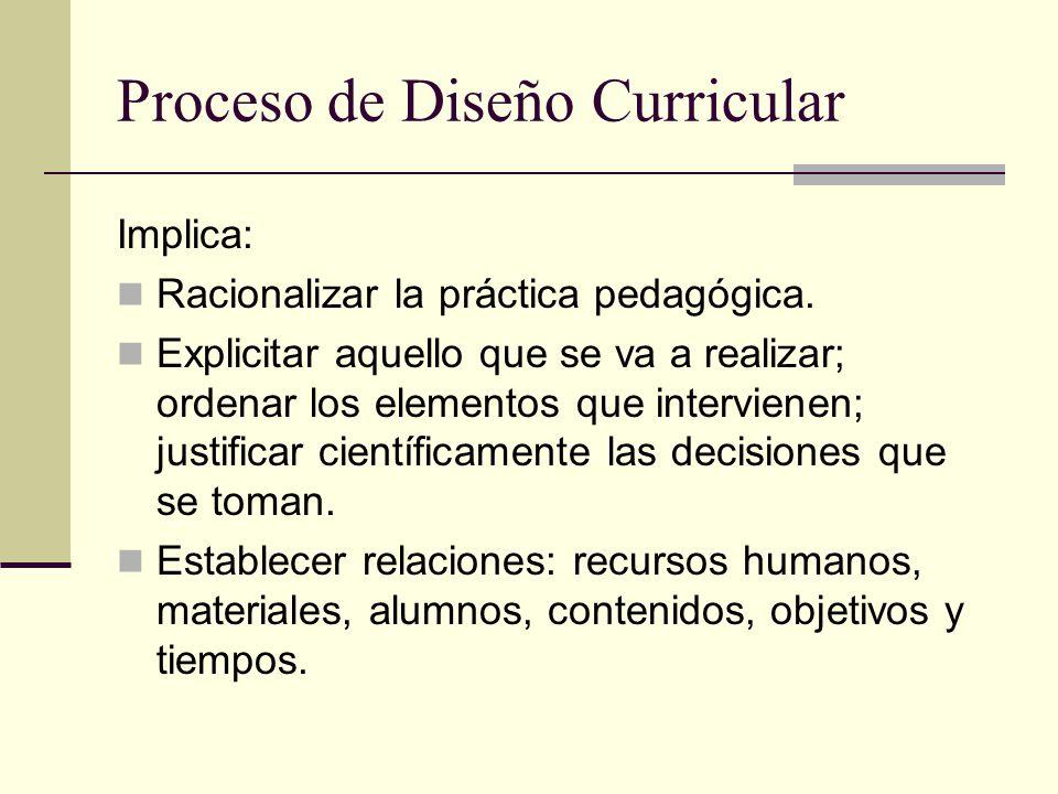 Proceso de Diseño Curricular Implica: Racionalizar la práctica pedagógica.