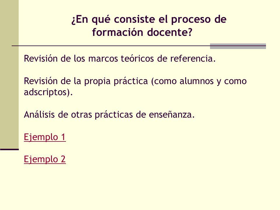 ¿En qué consiste el proceso de formación docente.Revisión de los marcos teóricos de referencia.