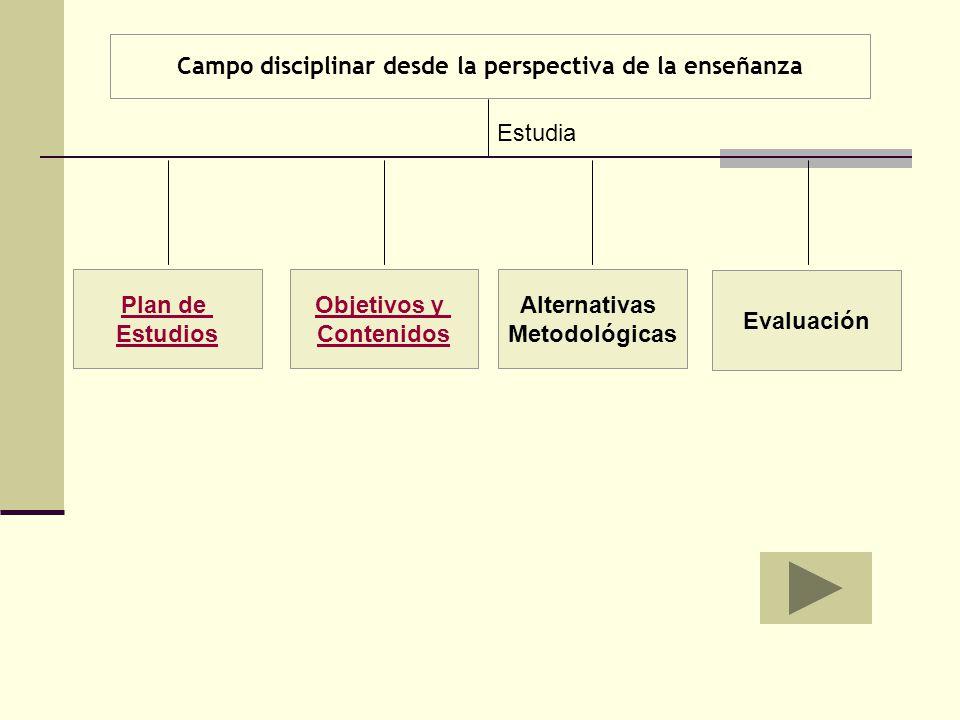 Campo disciplinar desde la perspectiva de la enseñanza Plan de Estudios Objetivos y Contenidos Alternativas Metodológicas Evaluación Estudia