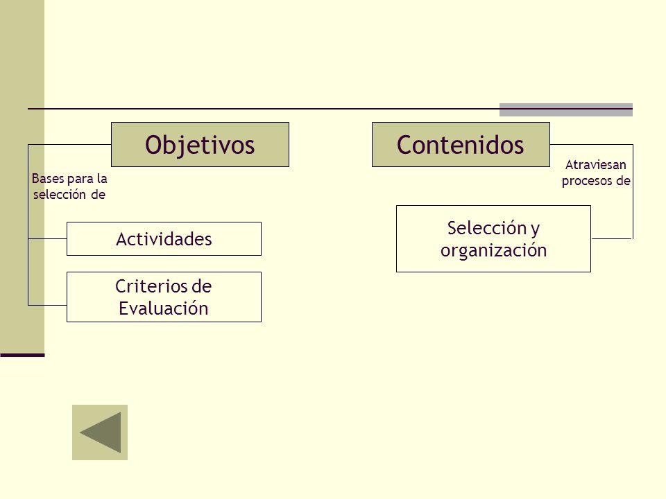ObjetivosContenidos Actividades Criterios de Evaluación Bases para la selección de Selección y organización Atraviesan procesos de