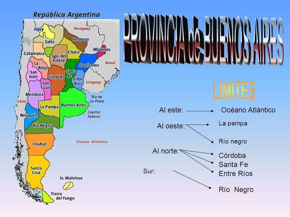 Océano Atlántico Río Negro Córdoba Santa Fe Entre Ríos Al este: Al oeste: Al norte: La pampa Río negro Sur: