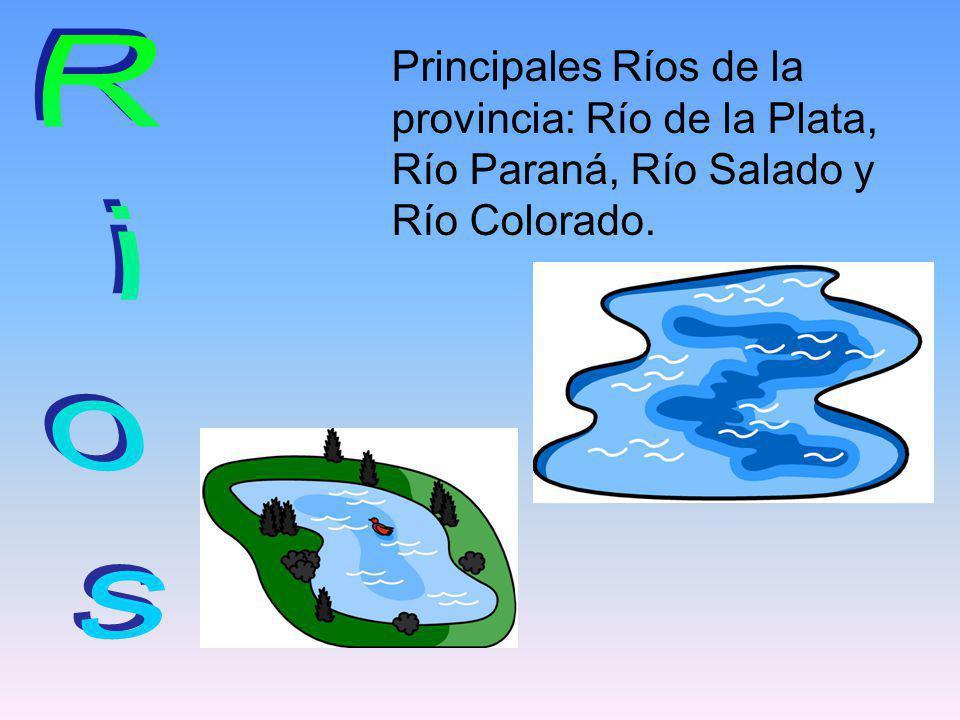 Principales Ríos de la provincia: Río de la Plata, Río Paraná, Río Salado y Río Colorado.