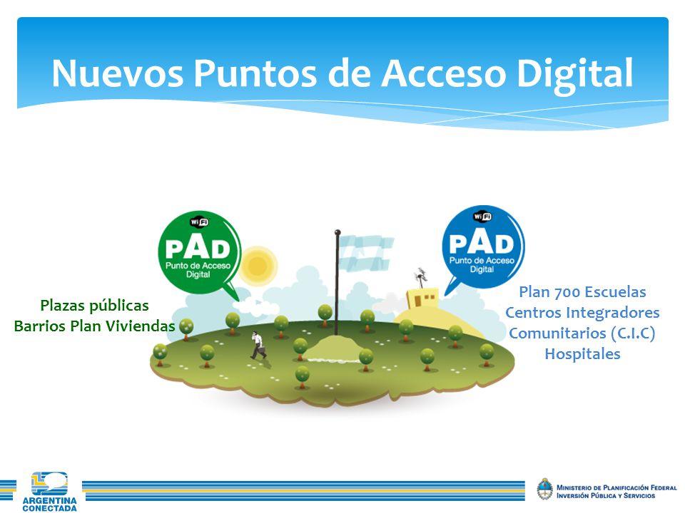 Nuevos Puntos de Acceso Digital Plazas públicas Barrios Plan Viviendas Plan 700 Escuelas Centros Integradores Comunitarios (C.I.C) Hospitales