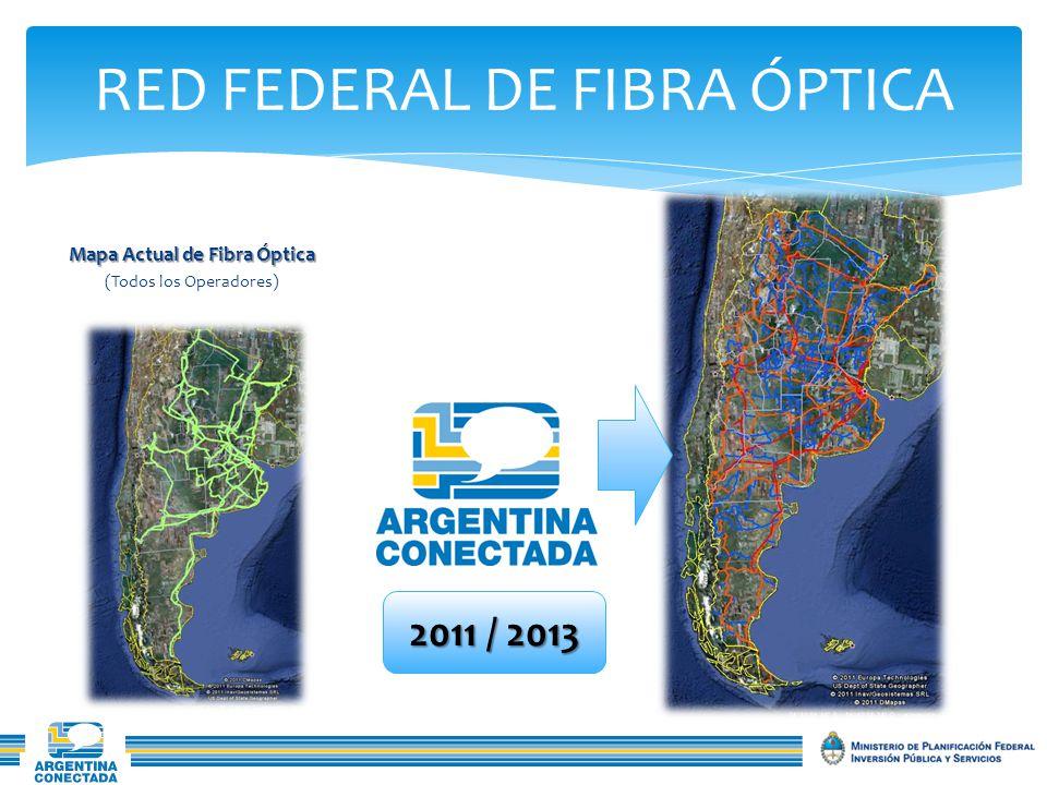 RED FEDERAL DE FIBRA ÓPTICA Mapa Actual de Fibra Óptica (Todos los Operadores) 2011 / 2013