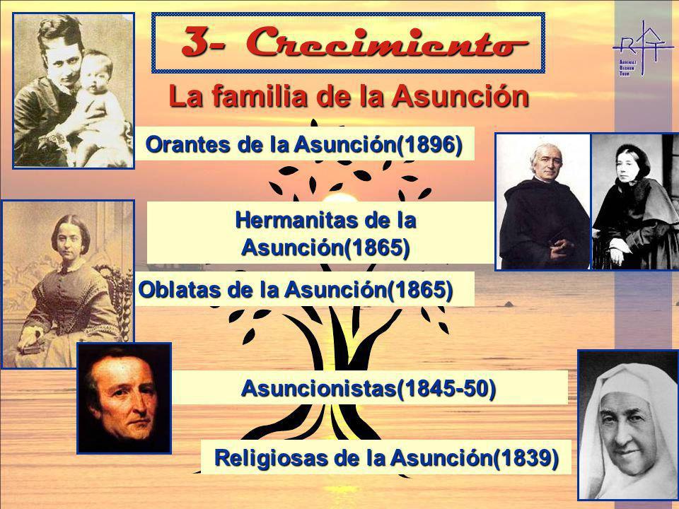 La familia de la Asunción La familia de la Asunción 3- Crecimiento Religiosas de la Asunción(1839) Asuncionistas(1845-50) Oblatas de la Asunción(1865)