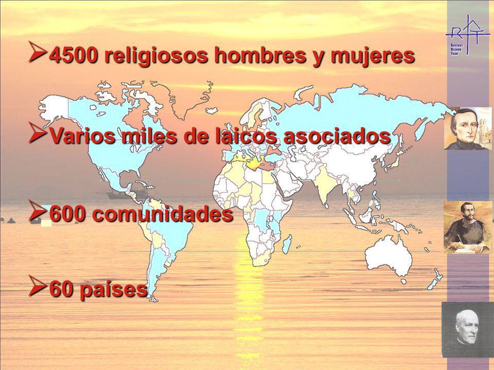 4500 religiosos hombres y mujeres 4500 religiosos hombres y mujeres 60 países 60 países 600 comunidades 600 comunidades Varios miles de laicos asociad