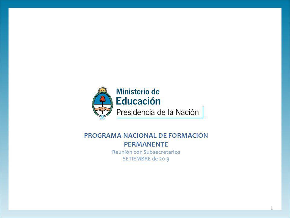 PROGRAMA NACIONAL DE FORMACIÓN PERMANENTE Reunión con Subsecretarios SETIEMBRE de 2013 1