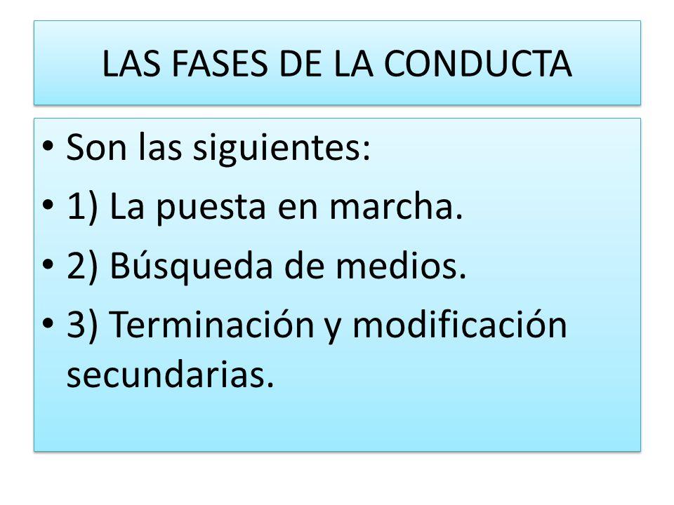 LAS FASES DE LA CONDUCTA Son las siguientes: 1) La puesta en marcha. 2) Búsqueda de medios. 3) Terminación y modificación secundarias. Son las siguien