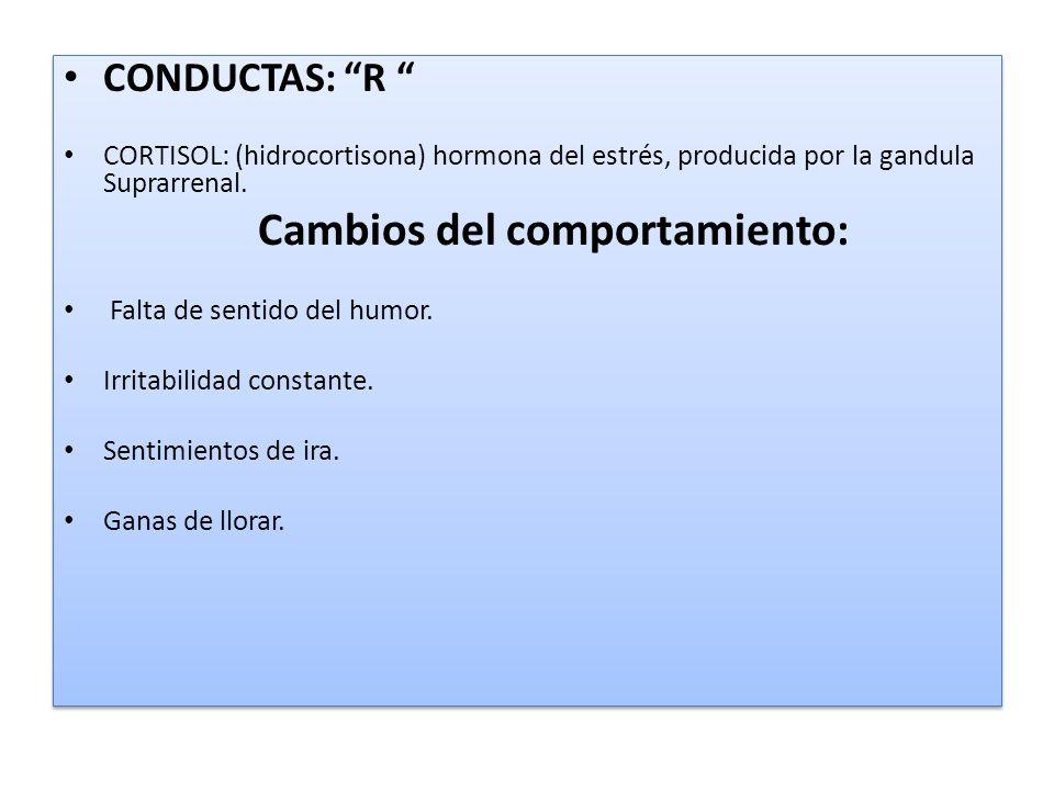 CONDUCTAS: R CORTISOL: (hidrocortisona) hormona del estrés, producida por la gandula Suprarrenal. Cambios del comportamiento: Falta de sentido del hum