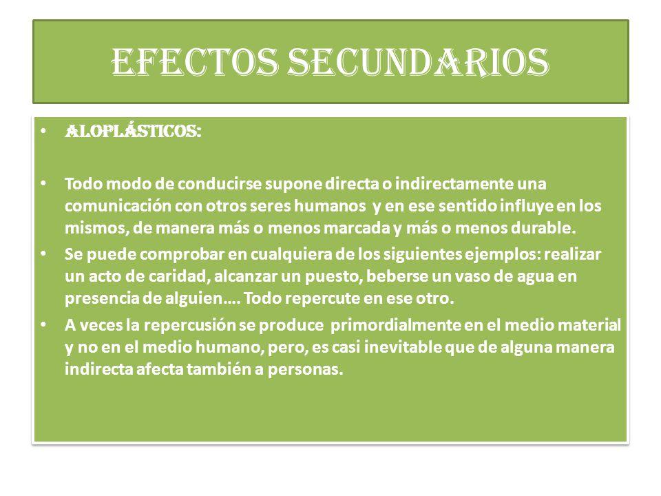 efectos secundarios ALOPLÁSTICOS: Todo modo de conducirse supone directa o indirectamente una comunicación con otros seres humanos y en ese sentido influye en los mismos, de manera más o menos marcada y más o menos durable.