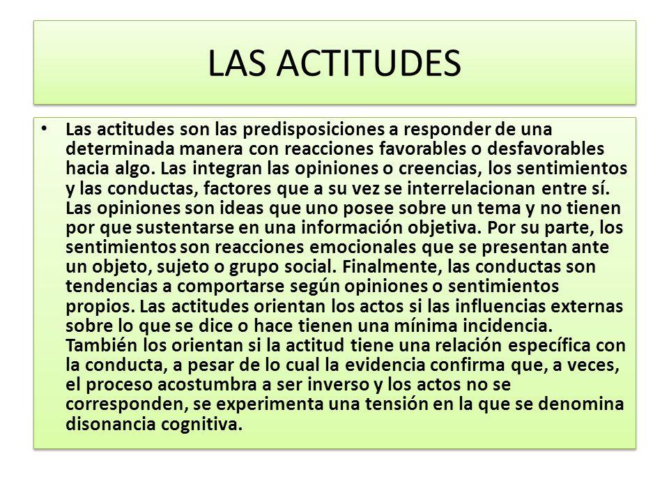 LAS ACTITUDES Las actitudes son las predisposiciones a responder de una determinada manera con reacciones favorables o desfavorables hacia algo.