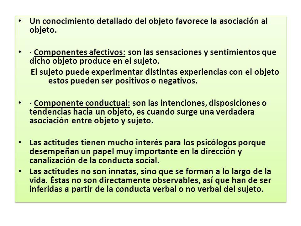 Un conocimiento detallado del objeto favorece la asociación al objeto. · Componentes afectivos: son las sensaciones y sentimientos que dicho objeto pr