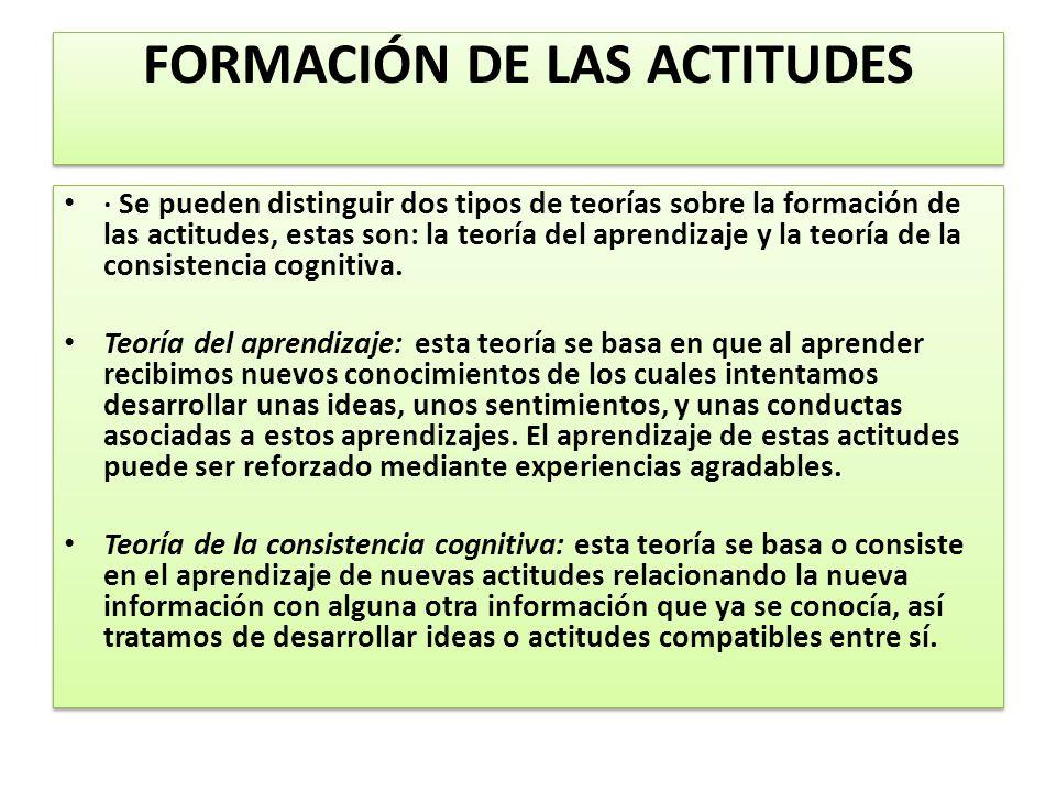 FORMACIÓN DE LAS ACTITUDES · Se pueden distinguir dos tipos de teorías sobre la formación de las actitudes, estas son: la teoría del aprendizaje y la teoría de la consistencia cognitiva.