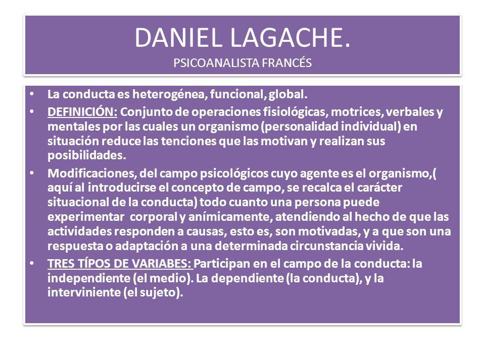 DANIEL LAGACHE. PSICOANALISTA FRANCÉS La conducta es heterogénea, funcional, global. DEFINICIÓN: Conjunto de operaciones fisiológicas, motrices, verba