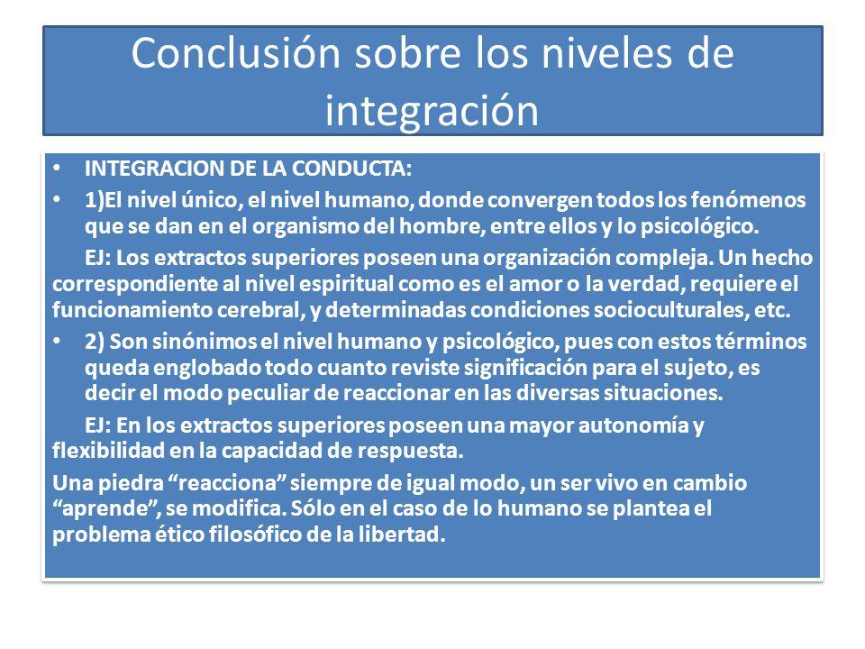 Conclusión sobre los niveles de integración INTEGRACION DE LA CONDUCTA: 1)El nivel único, el nivel humano, donde convergen todos los fenómenos que se dan en el organismo del hombre, entre ellos y lo psicológico.
