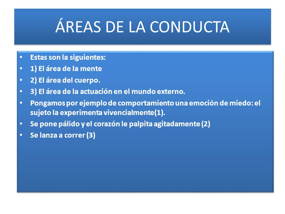ÁREAS DE LA CONDUCTA Estas son la siguientes: 1) El área de la mente 2) El área del cuerpo. 3) El área de la actuación en el mundo externo. Pongamos p
