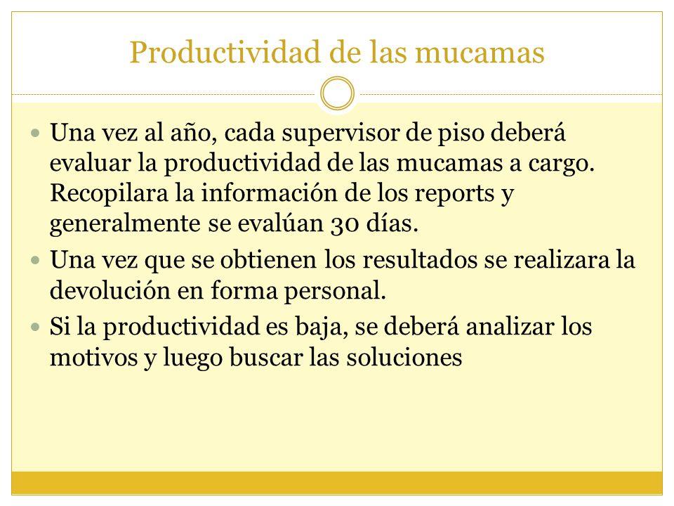 Productividad de las mucamas Una vez al año, cada supervisor de piso deberá evaluar la productividad de las mucamas a cargo. Recopilara la información