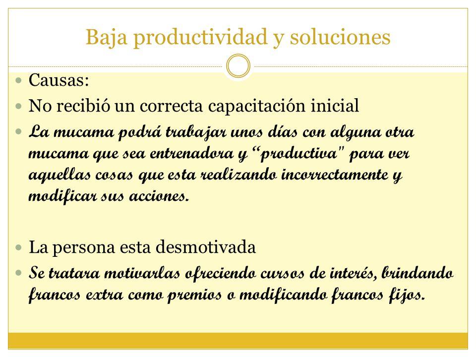 Baja productividad y soluciones Causas: No recibió un correcta capacitación inicial La mucama podrá trabajar unos días con alguna otra mucama que sea
