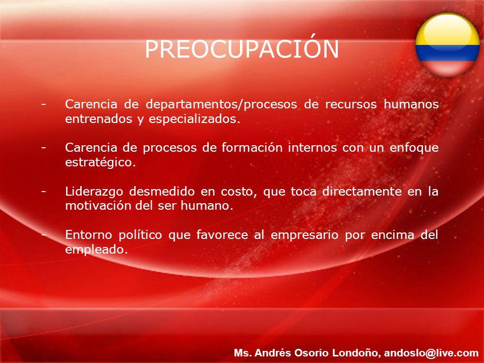 PREOCUPACIÓN -Carencia de departamentos/procesos de recursos humanos entrenados y especializados. -Carencia de procesos de formación internos con un e