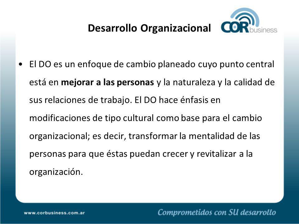 Desarrollo Organizacional El DO es un enfoque de cambio planeado cuyo punto central está en mejorar a las personas y la naturaleza y la calidad de sus relaciones de trabajo.