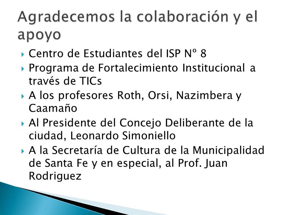 Centro de Estudiantes del ISP Nº 8 Programa de Fortalecimiento Institucional a través de TICs A los profesores Roth, Orsi, Nazimbera y Caamaño Al Pres