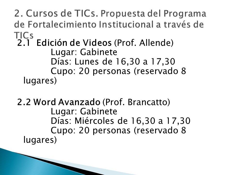 2.1 Edición de Videos (Prof. Allende) Lugar: Gabinete Días: Lunes de 16,30 a 17,30 Cupo: 20 personas (reservado 8 lugares) 2.2 Word Avanzado (Prof. Br
