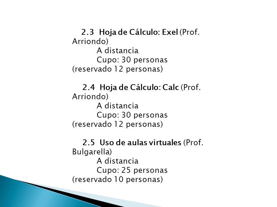 2.3 Hoja de Cálculo: Exel (Prof. Arriondo) A distancia Cupo: 30 personas (reservado 12 personas) 2.4 Hoja de Cálculo: Calc (Prof. Arriondo) A distanci