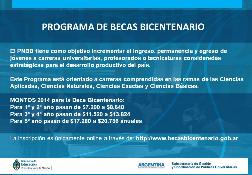 PROGRAMA DE BECAS BICENTENARIO El PNBB tiene como objetivo incrementar el ingreso, permanencia y egreso de jóvenes a carreras universitarias, profesorados o tecnicaturas consideradas estratégicas para el desarrollo productivo del país.