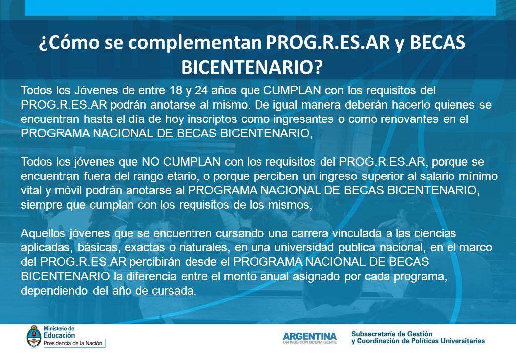¿Cómo se complementan PROG.R.ES.AR y BECAS BICENTENARIO.