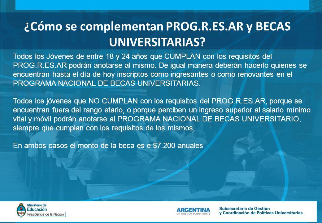 ¿Cómo se complementan PROG.R.ES.AR y BECAS UNIVERSITARIAS.