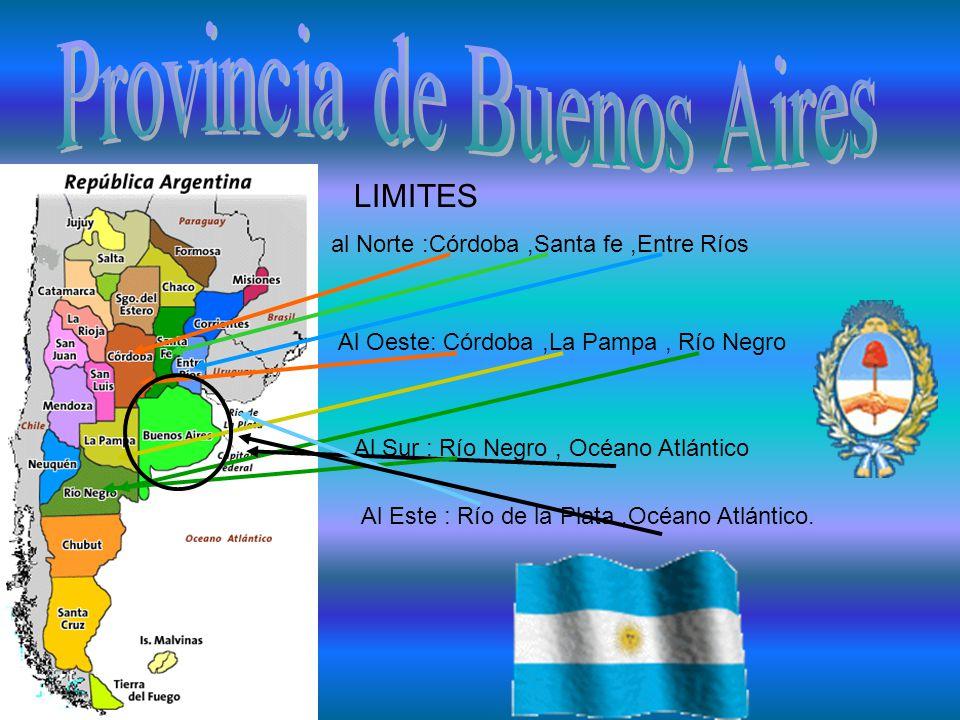 LIMITES al Norte :Córdoba,Santa fe,Entre Ríos Al Oeste: Córdoba,La Pampa, Río Negro Al Sur : Río Negro, Océano Atlántico Al Este : Río de la Plata,Océano Atlántico.
