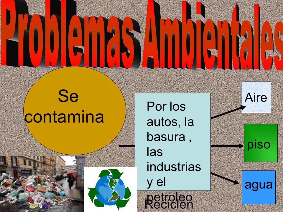 Se contamin Se contamina Aire Por los autos, la basura, las industrias y el petroleo piso agua Reciclen