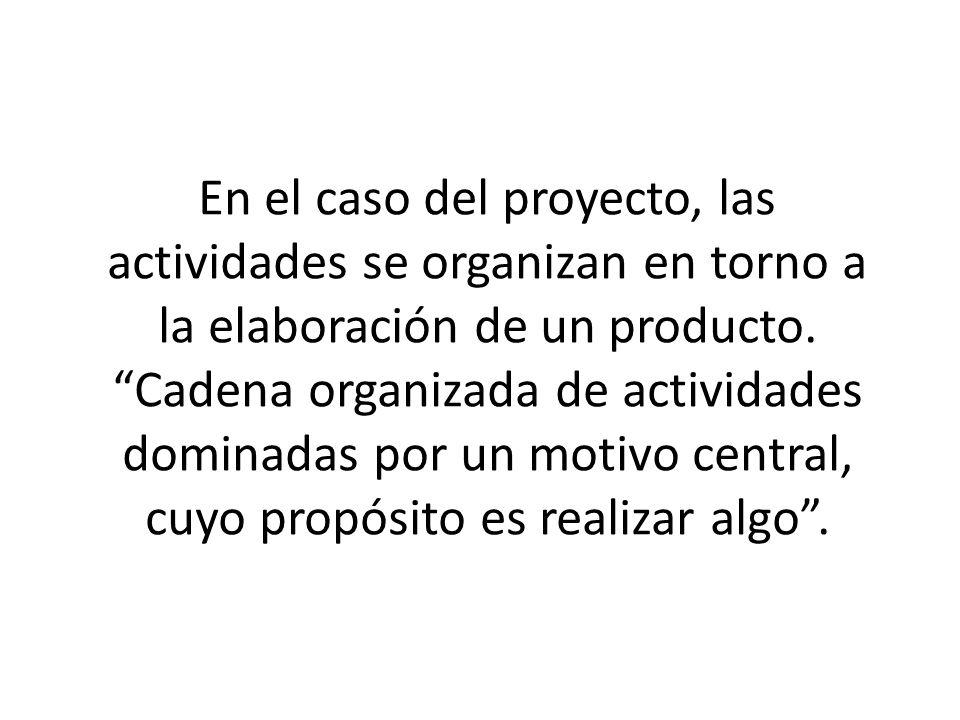 En el caso del proyecto, las actividades se organizan en torno a la elaboración de un producto. Cadena organizada de actividades dominadas por un moti