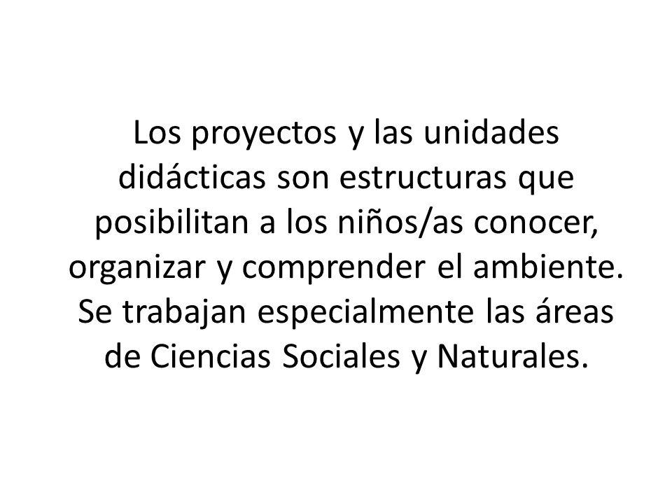 Los proyectos y las unidades didácticas son estructuras que posibilitan a los niños/as conocer, organizar y comprender el ambiente. Se trabajan especi