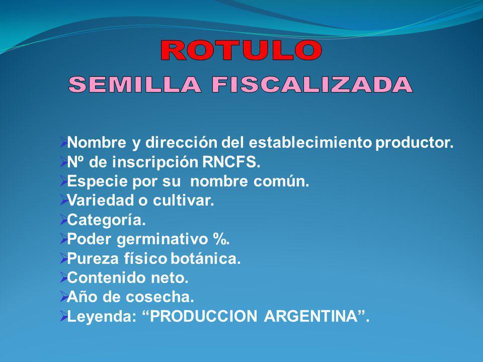 Nombre y dirección del establecimiento productor.Nº de inscripción RNCFS.