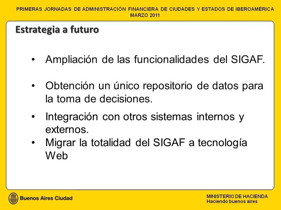 Ampliación de las funcionalidades del SIGAF. Obtención un único repositorio de datos para la toma de decisiones. Integración con otros sistemas intern