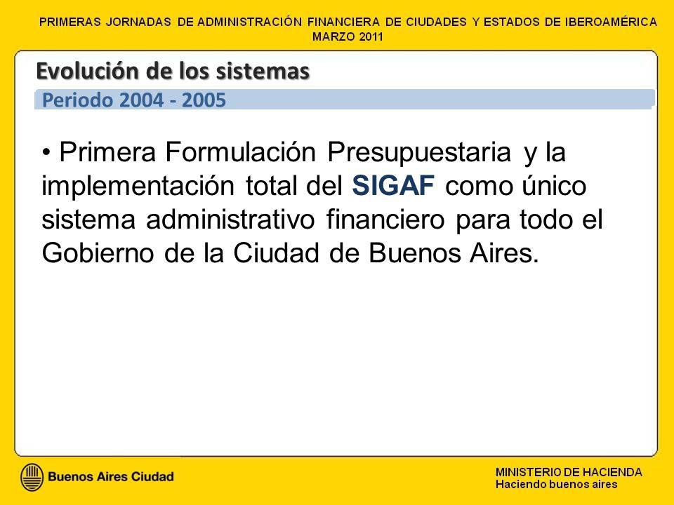 Primera Formulación Presupuestaria y la implementación total del SIGAF como único sistema administrativo financiero para todo el Gobierno de la Ciudad