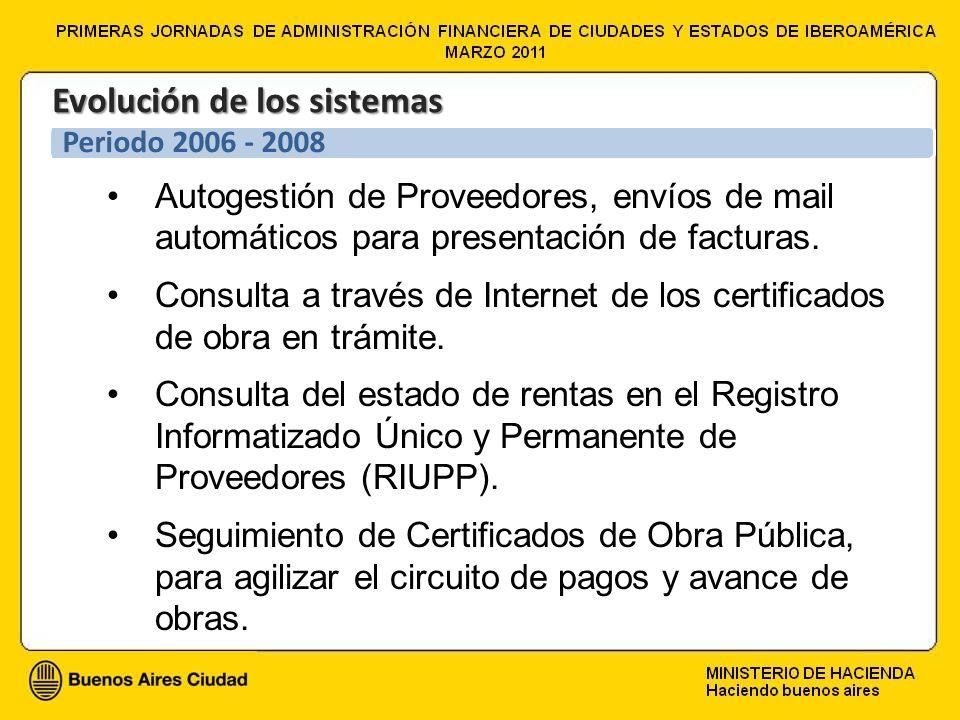 Autogestión de Proveedores, envíos de mail automáticos para presentación de facturas. Consulta a través de Internet de los certificados de obra en trá