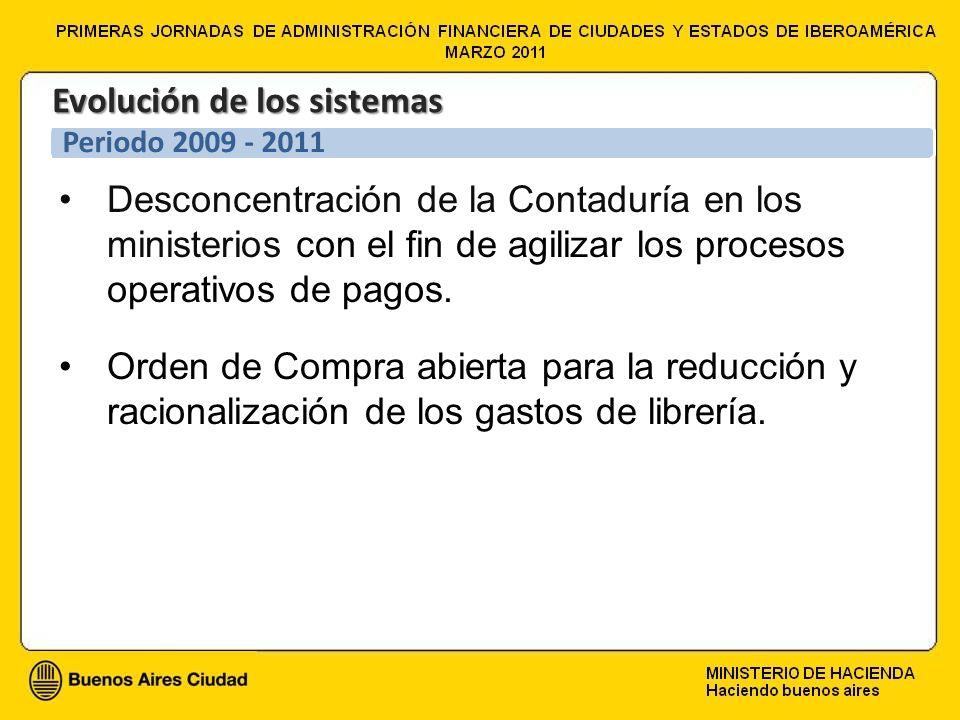 Desconcentración de la Contaduría en los ministerios con el fin de agilizar los procesos operativos de pagos. Orden de Compra abierta para la reducció
