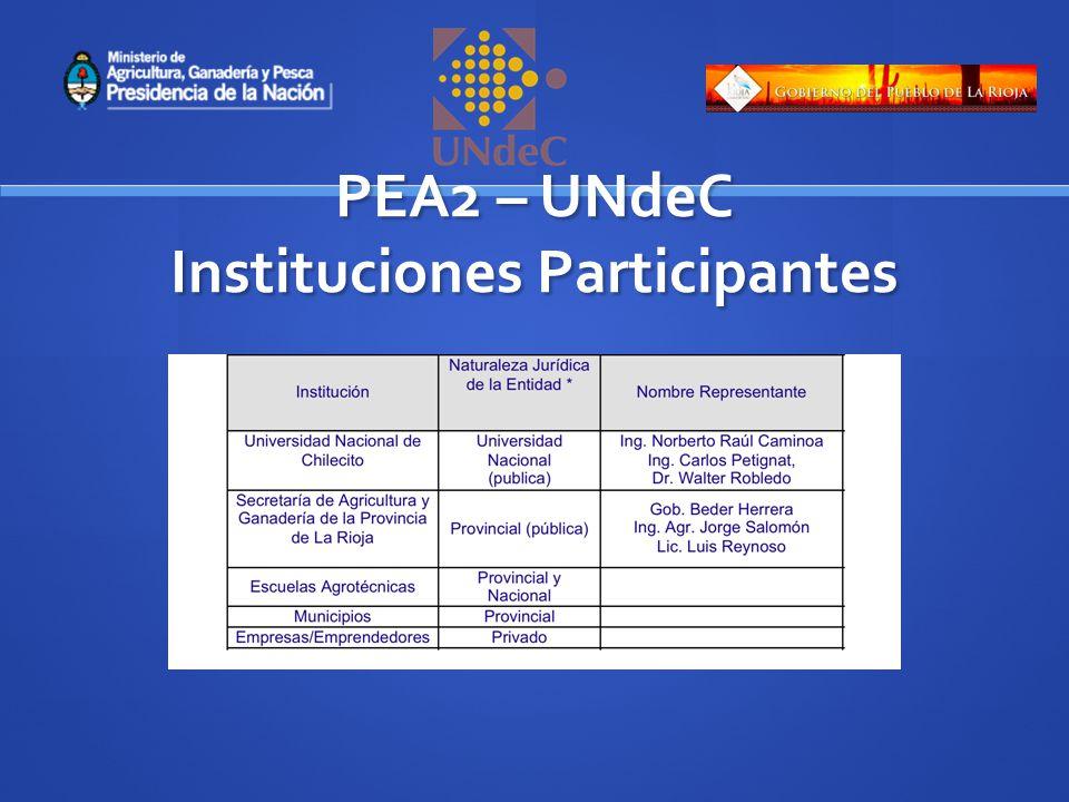 PEA2 – UNdeC Instituciones Participantes