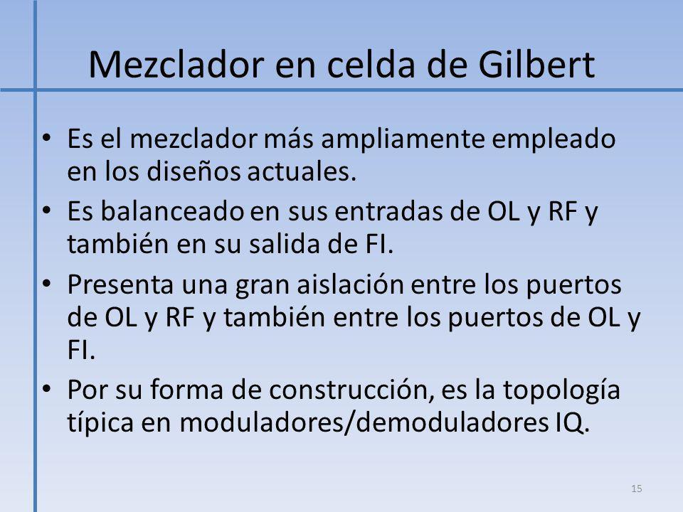 Mezclador en celda de Gilbert Es el mezclador más ampliamente empleado en los diseños actuales. Es balanceado en sus entradas de OL y RF y también en