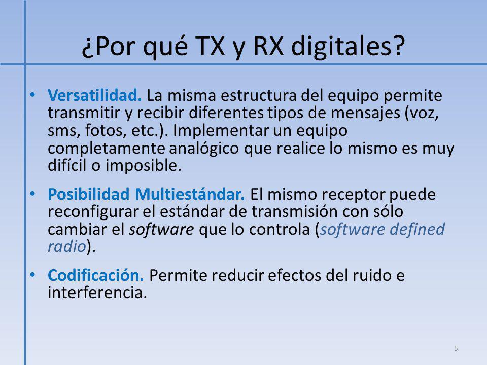¿Por qué TX y RX digitales? Versatilidad. La misma estructura del equipo permite transmitir y recibir diferentes tipos de mensajes (voz, sms, fotos, e
