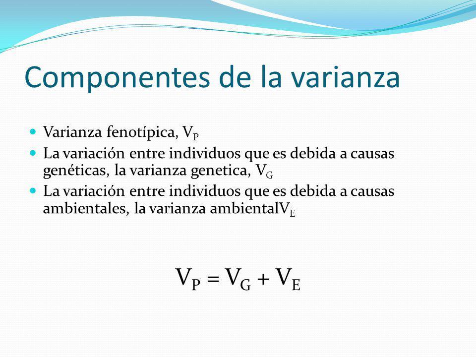 Heredabilidad en sentido amplio H 2 H 2 = V G / V P = V G / (V G + V E )