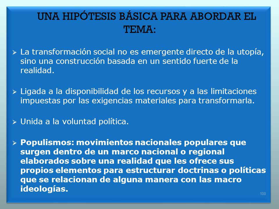 UNA HIPÓTESIS BÁSICA PARA ABORDAR EL TEMA: La transformación social no es emergente directo de la utopía, sino una construcción basada en un sentido f