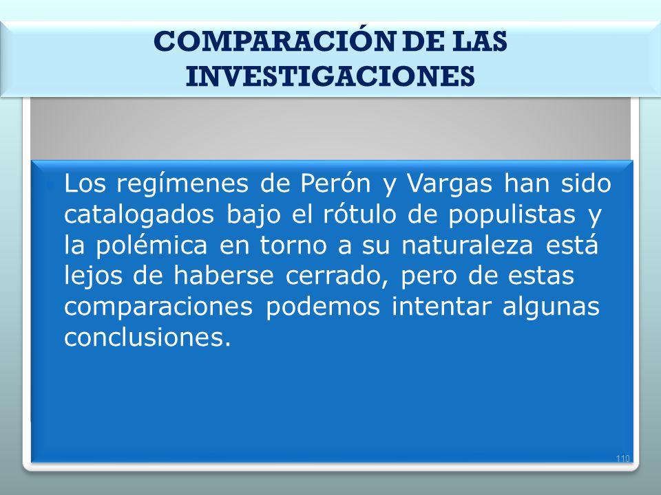 COMPARACIÓN DE LAS INVESTIGACIONES Los regímenes de Perón y Vargas han sido catalogados bajo el rótulo de populistas y la polémica en torno a su natur