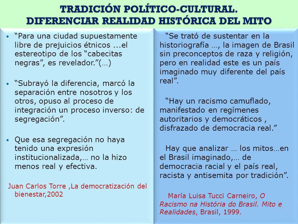 TRADICIÓN POLÍTICO-CULTURAL. DIFERENCIAR REALIDAD HISTÓRICA DEL MITO Para una ciudad supuestamente libre de prejuicios étnicos...el estereotipo de los