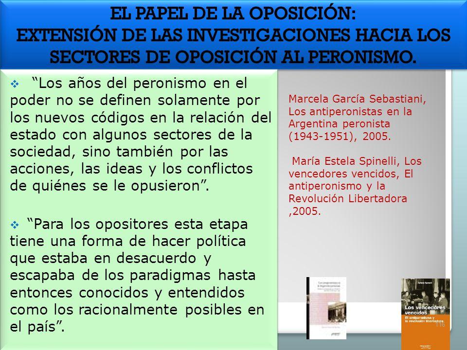 Marcela García Sebastiani, Los antiperonistas en la Argentina peronista (1943-1951), 2005. María Estela Spinelli, Los vencedores vencidos, El antipero