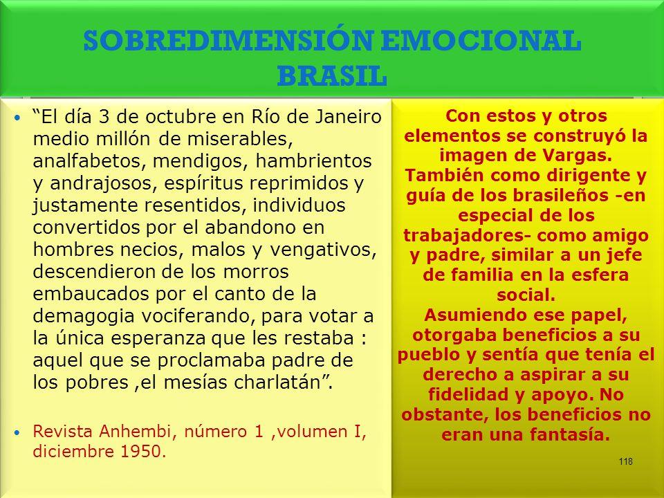 SOBREDIMENSIÓN EMOCIONAL BRASIL Con estos y otros elementos se construyó la imagen de Vargas. También como dirigente y guía de los brasileños -en espe