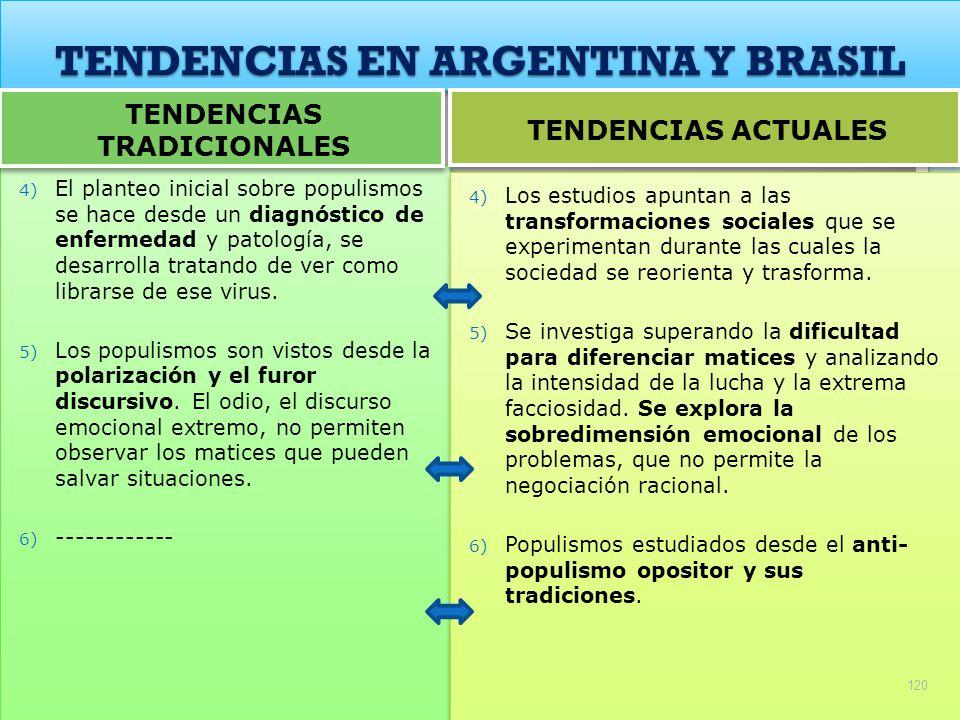 TENDENCIAS EN ARGENTINA Y BRASIL 4) El planteo inicial sobre populismos se hace desde un diagnóstico de enfermedad y patología, se desarrolla tratando